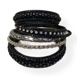 Black & Silver Bangle Bracelet Set